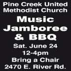 Pine Creek United Methodist Church MUSIC JAMBOREE & BARBECUE on 6/24/2017 at Noon