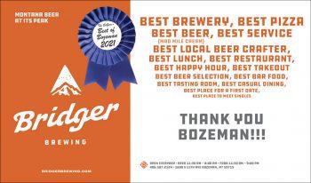 Bridger Brewing Best of Bozeman Best Brewery 2021